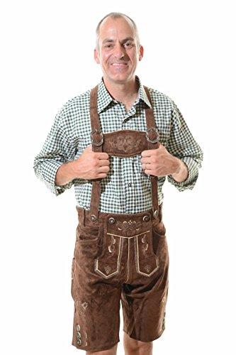 Lederhosen Costume Authentic Oktoberfest Lederhosen GEORG -34 - Dark Brown