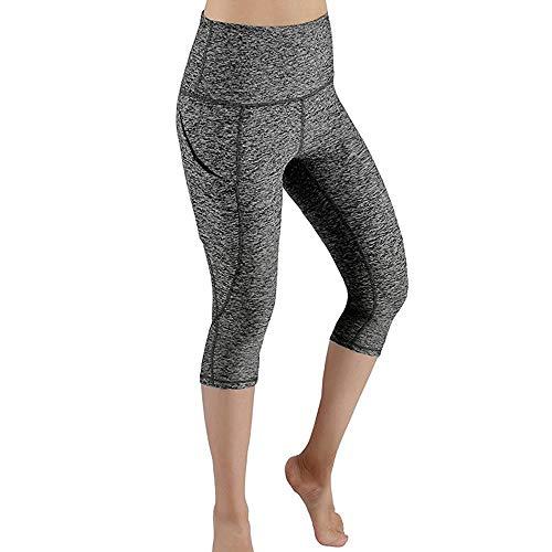 Linkay Damen Doppeltaschen Sport Leggings 3/4 Yogahose Sporthose Laufhose Training Tights mit Handytasche Fitnesshose mit Taschen (Grau,XXX-Large)