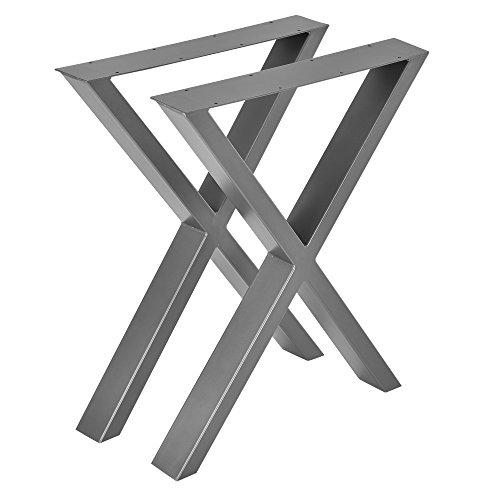 [en.casa] Gambe da Tavolo in Set di 2 Pezzi - 59 x 72 cm - Forma X - Grigio Argento