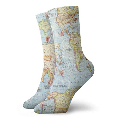 remmber me Atlas World Map Unisex Fun Cool 3D Print Colorful Athletic Sport Novedad Crew Tube Calcetines 30cm