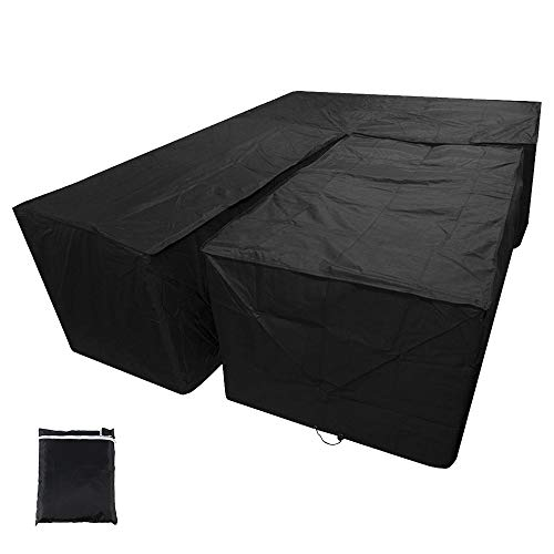 L Shaped Garden Furniture Cover, Outdoor Waterproof Sectional Furniture Cover, Outdoor V Shape Garden Couch Protector Waterproof Patio Sofa Cover Windproof Tearproof (286x286x82CM+155x95x68CM)