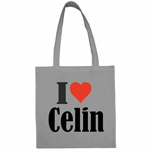 Tasche I Love Celin Größe 38x42 Farbe Grau Druck Schwarz