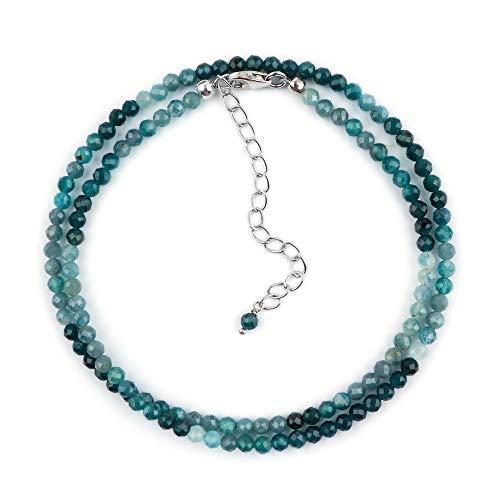 InfinityGemsArt crystal grandidierite natural hecho a mano collar gargantilla dainty, rodio plateado plata de ley 925 joyería de las mujeres, los cristales de la curación, collar de piedras naturales