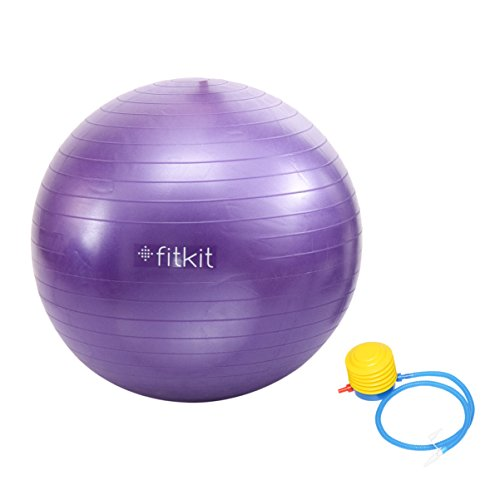 Fitkit Anti-Burst Gym Ball with Foot Pump, 75cm (Purple)