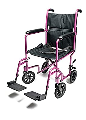 """Graham-Field-EJ791-1 Everest & Jennings Aluminum Transport Chair with 5 Inches Swivel Casters, 19 Inches Seat, Pink, 19x16"""" Seat"""
