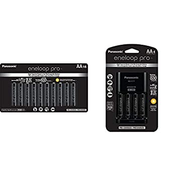 Panasonic BK-3HCCA16FA eneloop pro AA High Capacity Ni-MH Pre-Charged Rechargeable Batteries 16 Pack & K-KJ17KHCA4A Advanced Individual Cell Battery Charger Pack