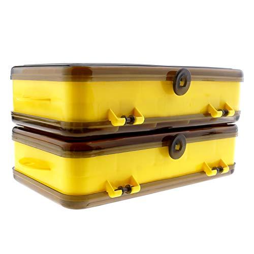 Caja de plástico de dos caras con 13 compartimentos en 3 tamaños diferentes, con agujero para colgar de plástico, portátil, duradero
