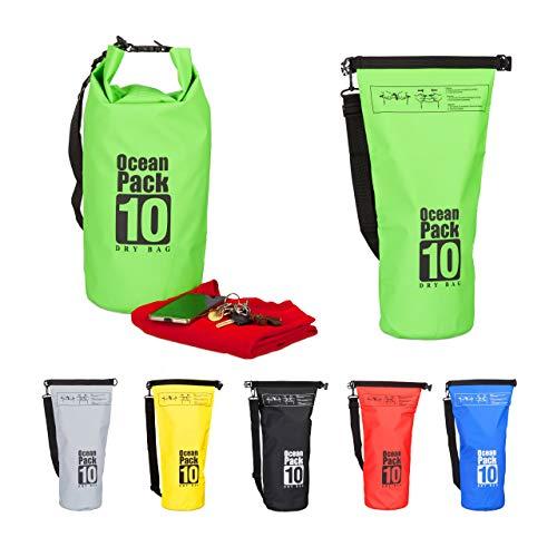 Relaxdays Ocean Pack 10 L, wasserdichter Dry Bag, ultraleichter Trockensack f. Kajak, Segeln, Rafting, Skifahren, grün