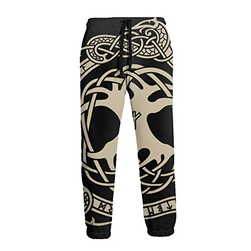 Raven in Celtic and Norse Runes Men's Sweatpants with Pockets for Jogging Workout Gym Running Training XL