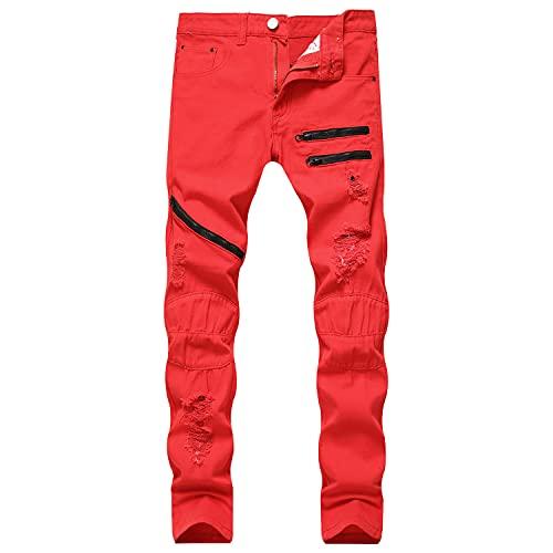Zerrissene Reißverschluss Jeans Für Herren Skinny Denim Hose Mit LöChern Im Used Look Hip Hop Biker Jeanshose (30,Rot)
