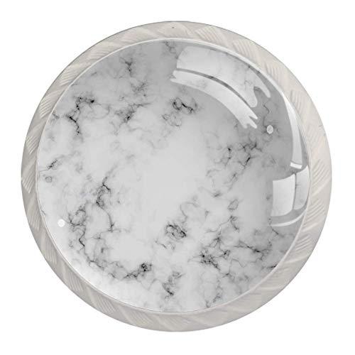 Möbelknöpfe Schwarzweiss-Marmor Schublade Zieht Griffe Schrank Schminktisch Kommode Knopf ziehen Griff mit Schrauben 4 Stück 3.5x2.8cm