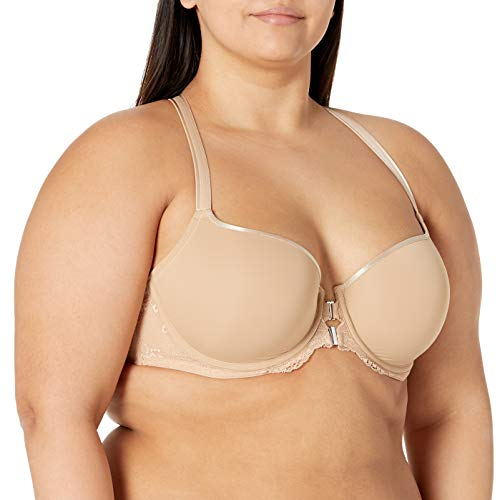 Curvy Couture Women's Plus Size Tulip Lace Front Close T-Shirt Bra, Bombshell Nude, 38G