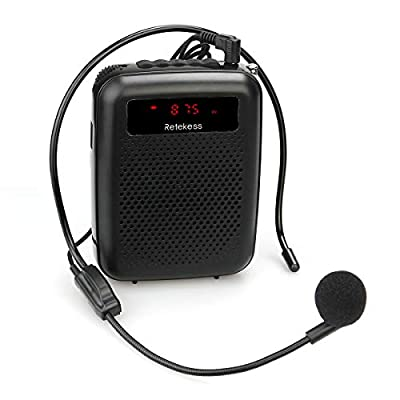 Retekess PR16R Portable Voice Amplifier (12W) with Microphone, FM Radio, MP3 Player, Recording, Wired Microphone Amplifier for Teachers, Coach Training, Classroom, Tour Guides, Promoters (Black) by Retekess