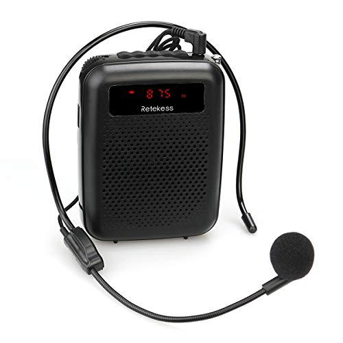 Retekess PR16R Amplificatore Vocale Portatile Alta potenza 12W con Radio FM Riproduttore MP3 Microfono Auricolare per Insegnanti, Mettersi in Fila, Promotori (Nero)