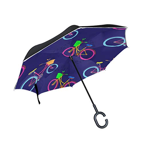 Amazing Deal PNGLLD Bicicleta Bicycle Pattern Inverted Umbrella Double Layer Reverse Folding Umbrell...