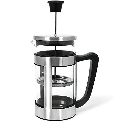 com-four® Kaffeebereiter mit Edelstahl-Halter und Filter, Kaffee-Presse aus Edelstahl und Glas, 1 Liter (01 Stück - Kaffeebereiter 1 Liter)