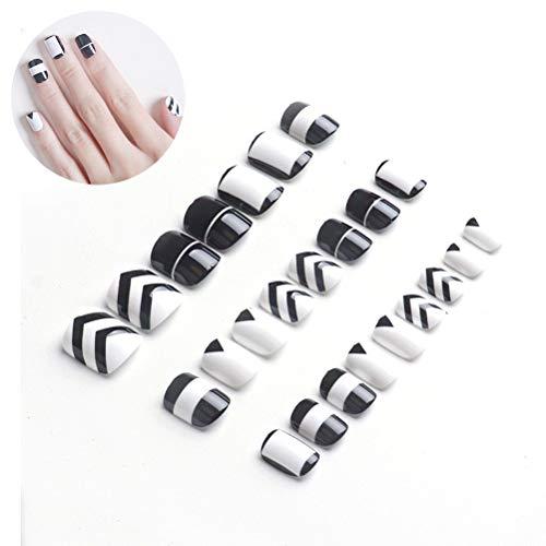Borstu False Nails Set Conseils d'ongles artificiels Noir et Blanc Motif de Fleurs croisées Conseils d'ongles Bricolage pour Femmes Filles (24 * Conseils d'ongles + 24 Films de gelée)