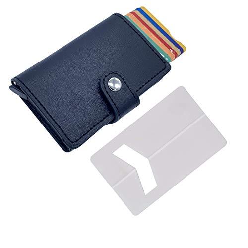 Tarjetero de Hombre pequeño con Monedero (con pequeña Cartera) – Tarjetero metalico Aluminio automatico RFID para Tarjetas de crédito de Piel Sintetica ✚ Soporte Tarjeta para teléfono movil (Negro)