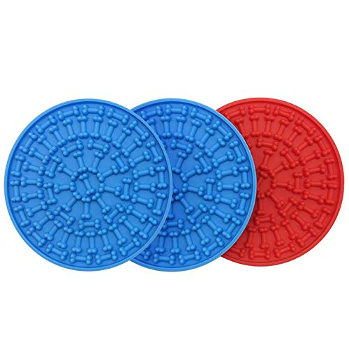 AircooL Dog Lick Pad,Dog Washing Distraction Device,Slow Feeder Dog Mat,Peanut Butter Lick Pad,Pet Lick Mat for Pet Bathing, Grooming, and Dog Training(3Pack)