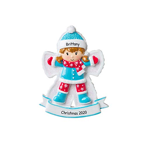 Personalized Snow Angel Girl Christmas Tree Ornament 2020 - Happy Kid Lie Down Snow Child-Hood Game Milestone Photo Memory Grand-Daughter Winter Tradition Year - Free Customization
