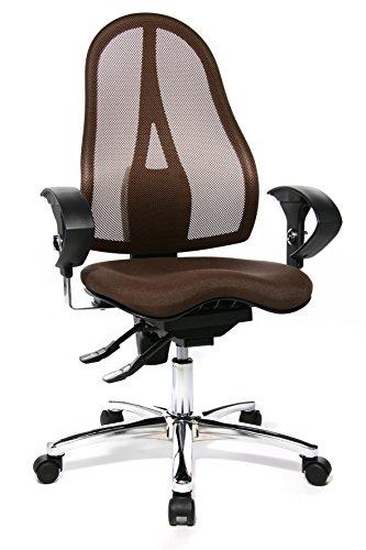 Topstar ST19UG08 Sitness 15, ergonomischer Bürostuhl, Schreibtischstuhl, inkl. höhenverstellbare Armlehnen, Bezugsstoff dunkelbraun