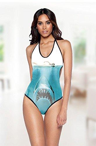 SZH Blauer Hai-Muster-Dekor-Frauen-athletischer einteiliger Badeanzug-Bikini-Badeanzug