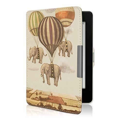 kwmobile Schutzhülle kompatibel mit Amazon Kindle Paperwhite - Hülle Kunstleder eReader (für Modelle bis 2017) - Fliegende Elefanten Beige