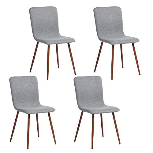 Juego de 4 sillas de Comedor de Estilo escandinavo con Revestimiento de Tela Gris, Patas de Metal imitación de Madera