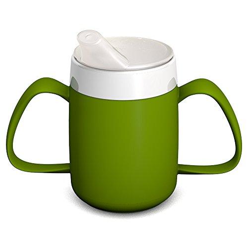 Ornamin 2-Henkel-Becher mit Trink-Trick 140 ml grün mit Schnabelaufsatz (Modell 815 + 806) / Spezial-Trinkhilfe, Tremor-Becher, Schnabelbecher