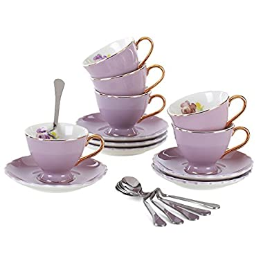 Jusalpha Porcelain Tea Cup and Saucer Coffee Cup Set with Saucer and Spoon FD-TCS02 (7 OZ, Set of 6, Purple)