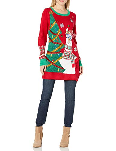 Blizzard Bay Women's Ugly Christmas Llama Sweater, Andes Red, 3X