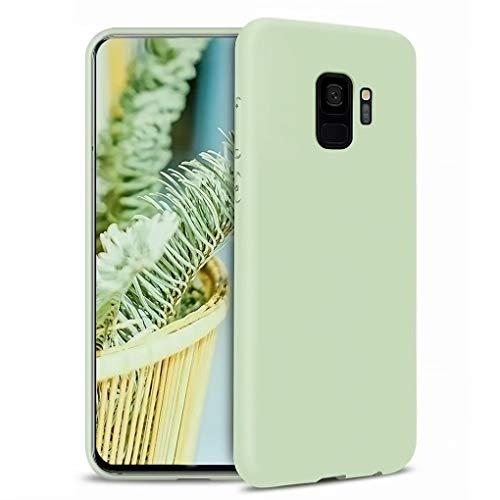 NiaCoCo Kompatibel mit Samsung Galaxy S9 Hülle Ultradünn Flüssiges Silikon Weicher Mikrofaser Stoff Futter Pad Kratzschutz Handyhülle+1PCS Displayschutzfolie - (Grün)