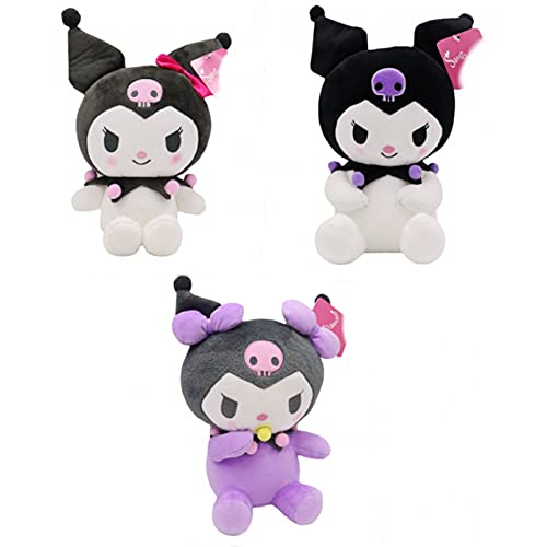 Betory 3Pcs Kuromi Peluches, Anime Melody Cartoon Soft Toy Little Devil 20Cm, Muñeca Almohada, Rosa/Morado/Chupete Kuromi Peluches, Cumpleaños de niños Día de San Valentín Navidad Halloween Regalos