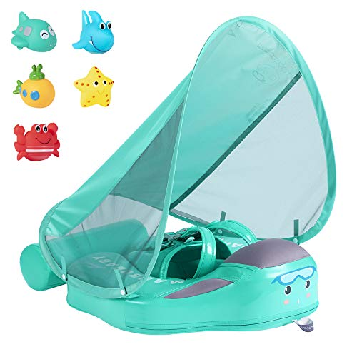 JOYOOSS Mambobaby Baby Swimming Pool Float with UPF 50+ UV Sun Canopy, Add Tail Infant Pool Float, Swimming Trainer Non-Inflatable Waist Swim Ring for Baby, Toddler