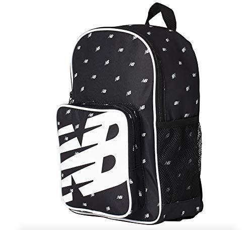 New Balance Kids Sporty Backpack - AOP600D Polyester Plain Weave, Black Multi