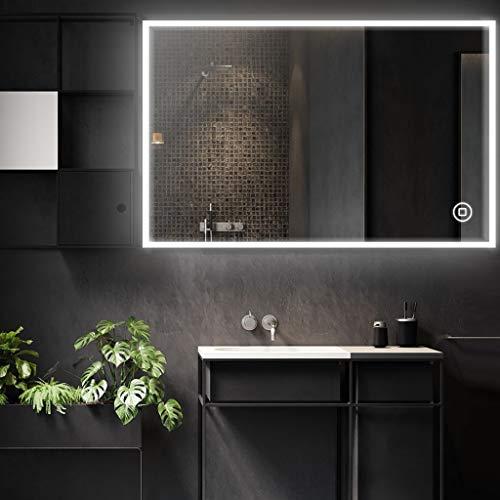 YOLEO Badspiegel mit Beleuchtung, Wandspiegel 80 * 60cm beschlagfrei mit Touchschalter, Lichtspiegel Kaltweiß 6400K