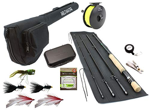 Wild Water Fly Fishing 9 Foot, 4-Piece, 7/8 Weight Fly Rod Complete Fly Fishing Rod and Reel Combo Starter Package with Freshwater Flies