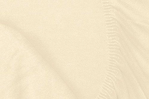 #12 Double Jersey Jersey Spannbettlaken, Spannbetttuch, Bettlaken, 160x200x30 cm, Creme - 7