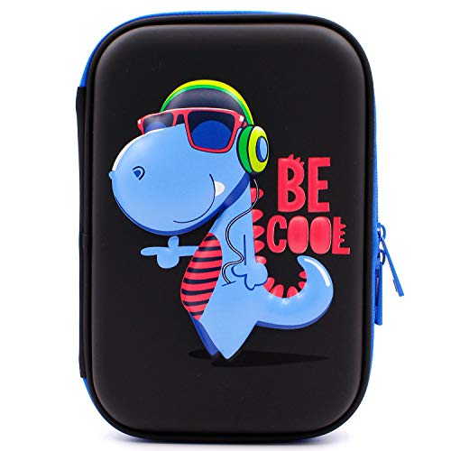 SOOCUTE School Boys Cool Dinosaur Hardtop Pencil Case with Compartment - Big Pencil Box Students Stationery Organizer for Kids Children Toddlers (Black)
