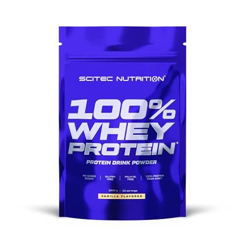 Scitec Nutrition 100% Whey Protein, Bebida en polvo de concentrado de proteína de suero con edulcorantes, sin azúcar añadido, sin gluten, sin aceite de palma, 1 kg, Vainilla