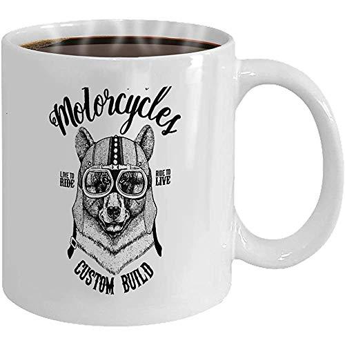 Taza café oso negro motorista motocicleta animal