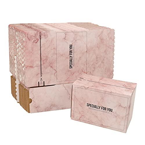 핑크 골판지 메일러 박스 25 팩 셀프 스틱 배송 상자 지퍼가있는 선물 포장 상자 (8.2X4.3X5.5 인치)