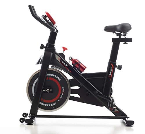 Bicicleta estática spinning indoor. Bici profesional fitness con monitor de frecuencia cardiaca, pedales de aluminio, volante de inercia y bidón de agua. Soporta hasta 150 KG