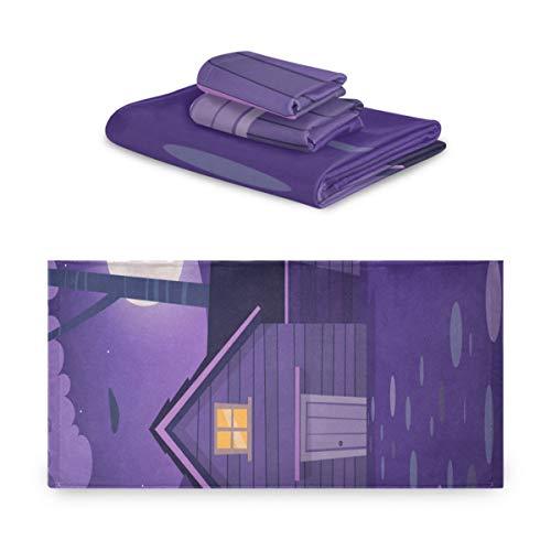 Juego de toallas de 3 piezas, Cabin In Woods Juegos de baño de toallas vectoriales, 1 toalla de baño, 1 toallita, 1 toalla de mano, multifunción suave para el hogar, cocina, hotel, gimnasio, spa de n