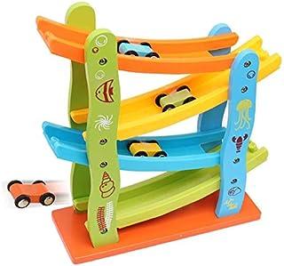 Children's educational toy track game wooden car sliding