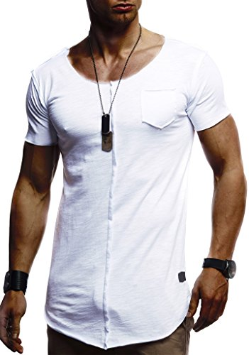 Leif Nelson Herren Sommer T-Shirt Rundhals-Ausschnitt Slim Fit Baumwolle-Anteil Basic Männer T-Shirt Crew Neck Hoodie-Sweatshirt Kurzarm lang LN6288 Weiß Medium
