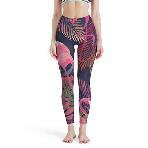 YxueSond - Pantalones de yoga para mujer, 4 vías, elásticos, flamencos, jogging, danza, mallas de compresión para pilates, gimnasio Blanco blanco XXL