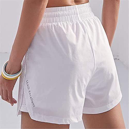 Shorts de Deporte Mujer Mujeres Corriendo Pantalones Cortos 2 en 1 Gimnasio Leggings Deporte Corriendo Pantalones Cortos para Running Gym (Color : White, Size : L)