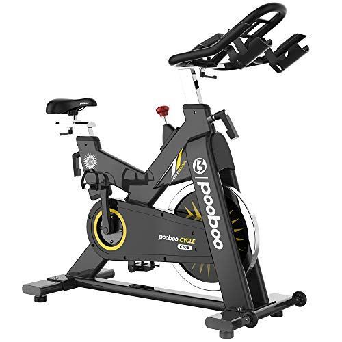 pooboo Commercial Exercise Bikes Heavy-Duty Belt Drive Indoor Cycling Bike Gym Stationary Bike with LCD Monitor Home Cardio Workout Bike Training (Green)