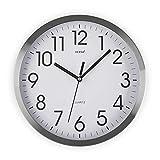 Versa Enkel Reloj de Pared Silencioso Decorativo para la Cocina, el Salón, el Comedor o la Habitación, Estilo Moderno, Medidas (Al x L x An) 35 x 4,1 x 35 cm, Aluminio, Color Blanco y Plateado